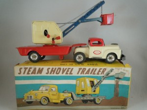 1955 Tin Friction Steam Shovel Trailer